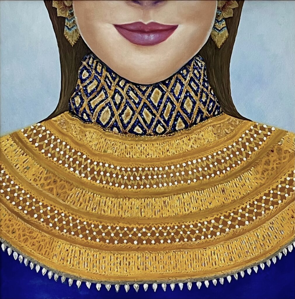 A painting of a close-up of a woman with pink/purple lips, straight brown hair, gold and blue earrings, and an intricate gold and blue top.