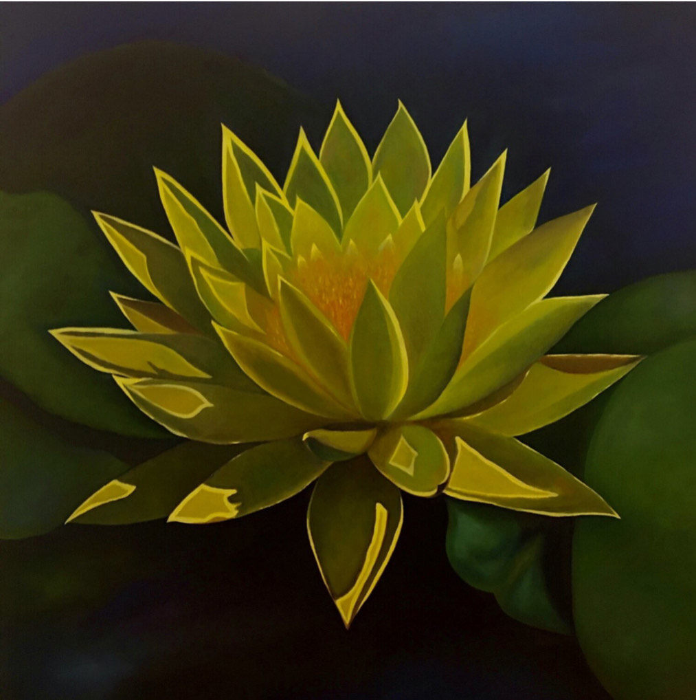 A painting of a yellow lotus flower in a pond with lilypads in the background.