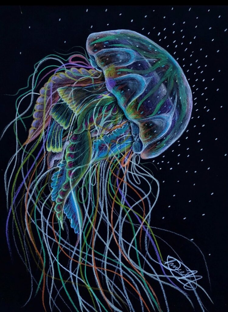 A visual art piece of a colorful jellyfish on a dark background.