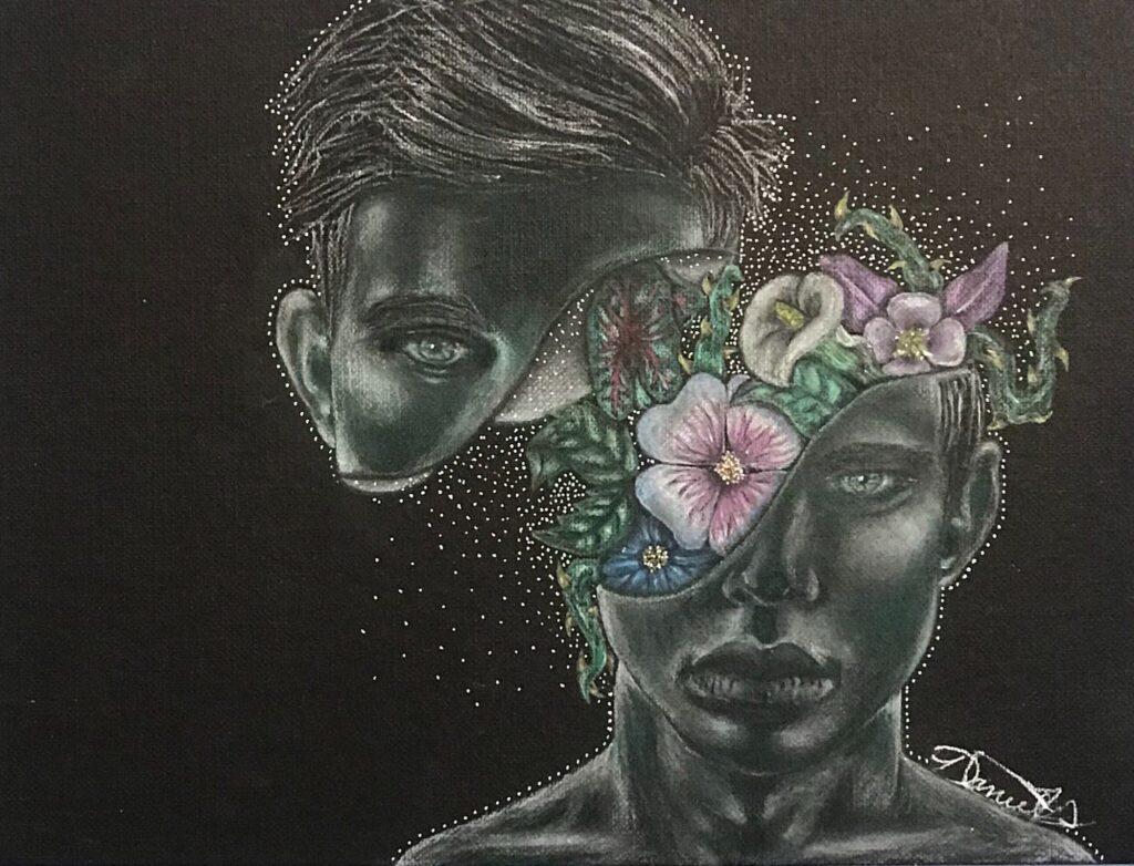 A visual art piece of a person's head cut diagonally in half. In the middle of the lower half are flowers sprouting up. The person is looking directly at the viewer and this art piece is also on dark paper.