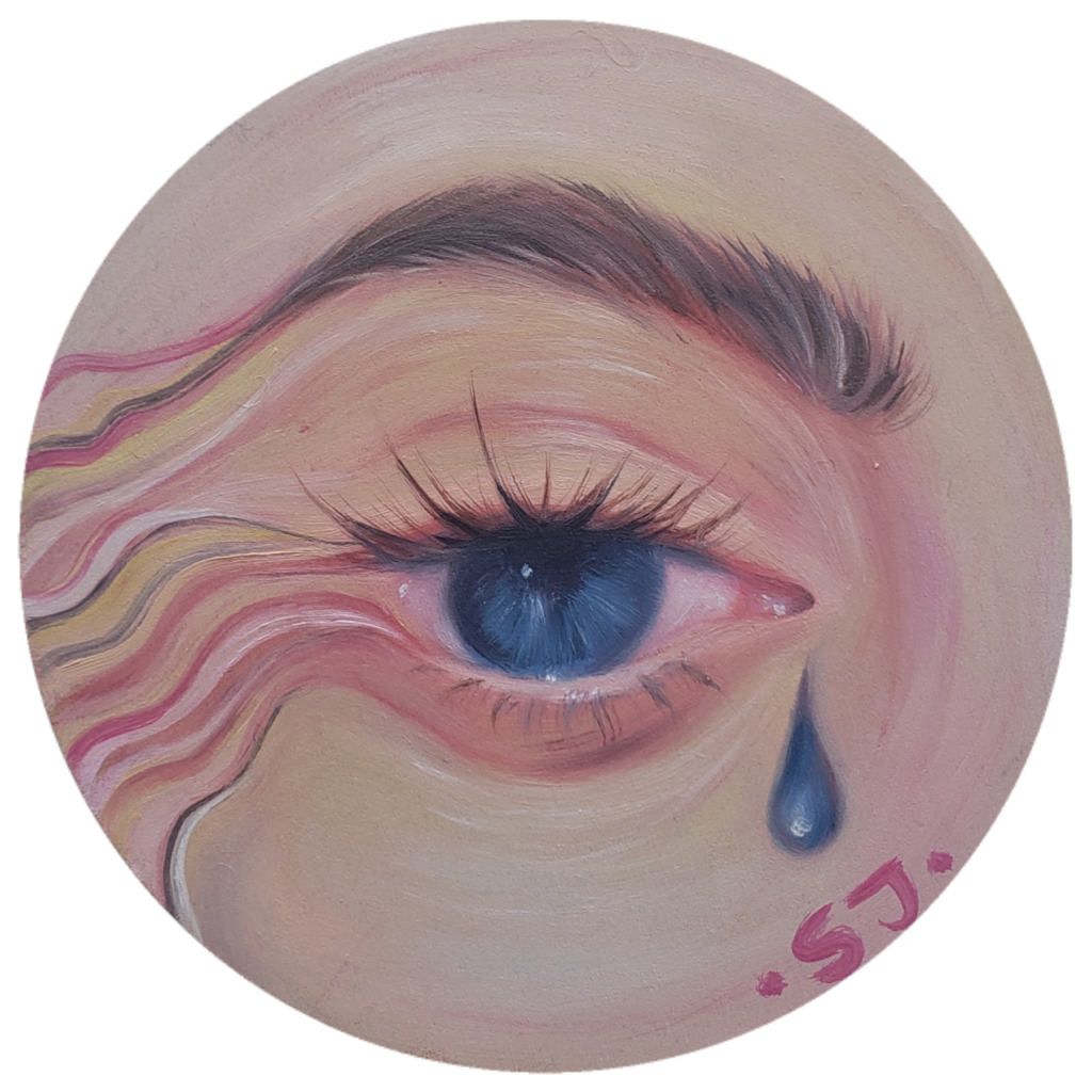 An oil on wood panel painting of a blue eye and dark eyebrow. There is a single blue teardrop under the corner of the eye.