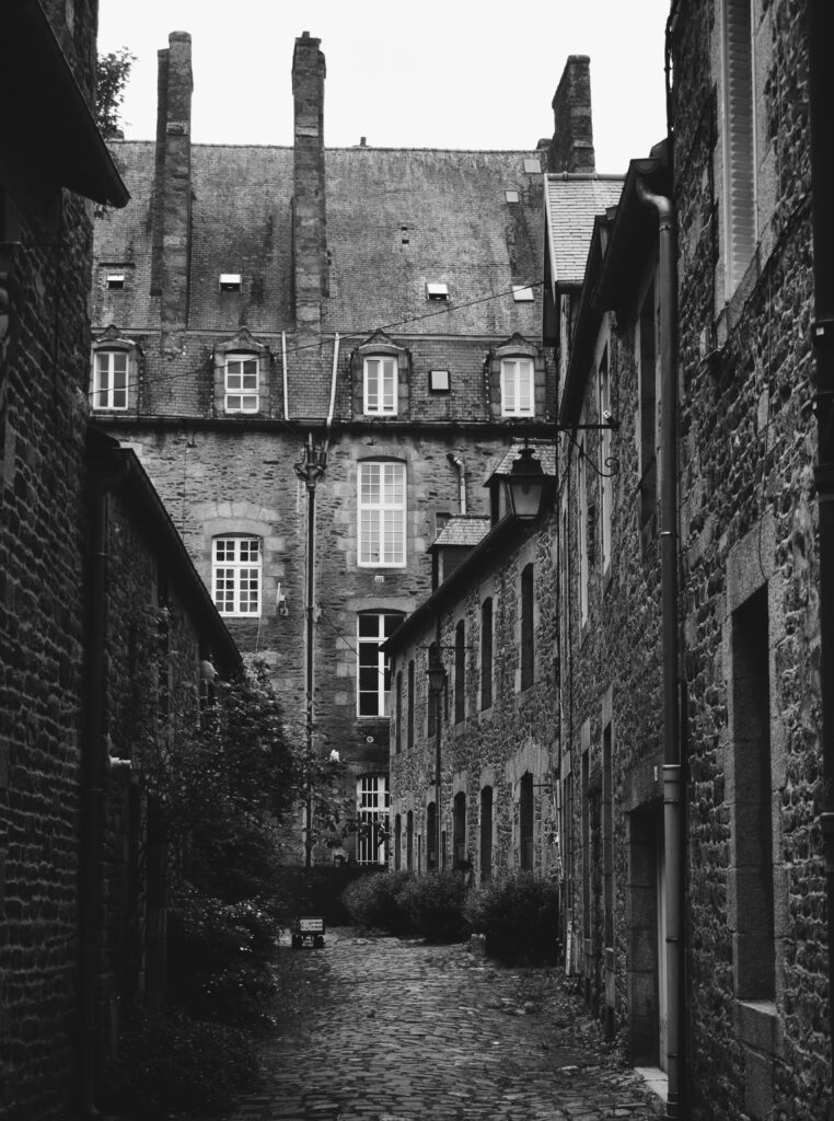 A black and white photograph of architecture.