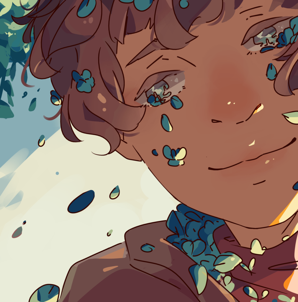 A digital art piece of a closeup of a person with brown hair who is crying blue flower petals. The hoodie they are wearing is also filled with blue flower petals.