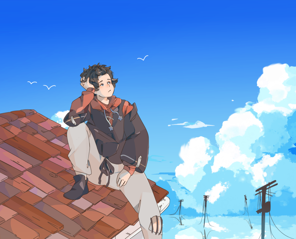 A digital art piece of a person sitting on a red rooftop looking up at the blue sky and fluffy white clouds. There are power lines peaking through the clouds near the bottom.